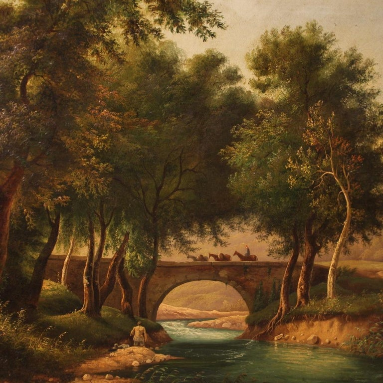19th Century Oil on Canvas Italian Painting Landscape with Characters, 1880 For Sale 3