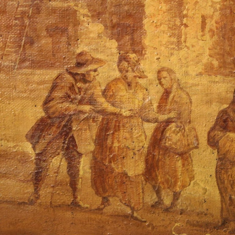 19th Century Oil on Canvas Italian Painting Landscape with Characters, 1880 For Sale 4