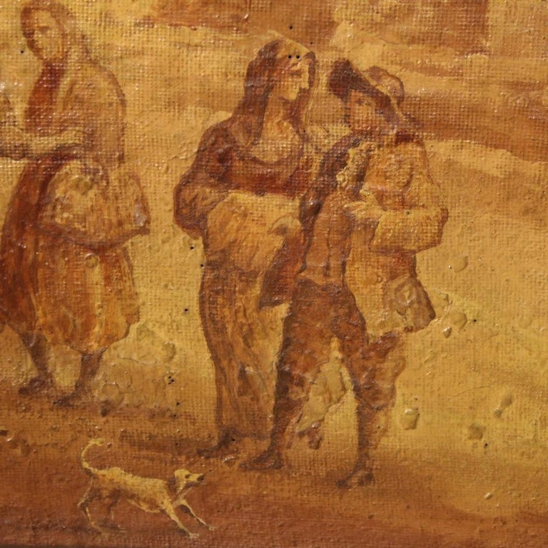 19th Century Oil on Canvas Italian Painting Landscape with Characters, 1880 For Sale 5