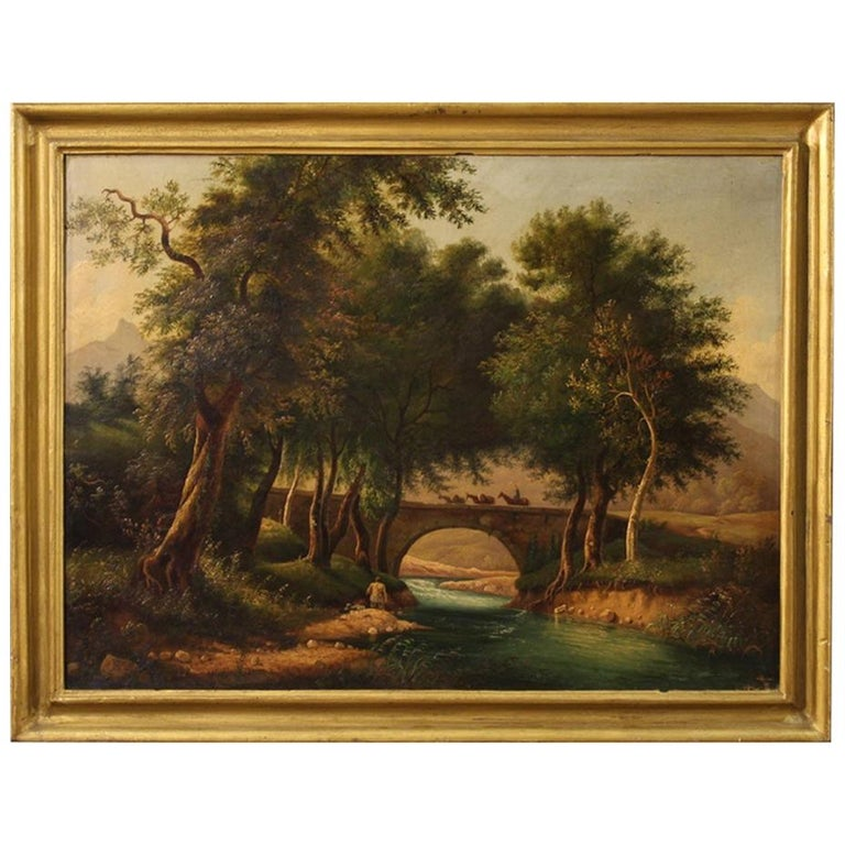 19th Century Oil on Canvas Italian Painting Landscape with Characters, 1880 For Sale