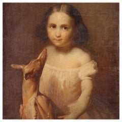 19th Century Oil on Canvas Italian Painting Portrait Little Girl with Dog, 1880