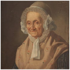 19th Century Oil on Canvas Italian Painting Portrait of a Old Woman, 1880
