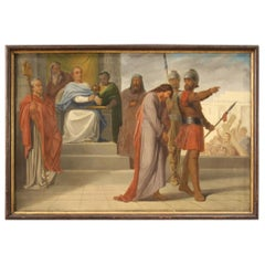 19th Century Oil on Canvas Italian Painting The Judgment of Pontius Pilate, 1870