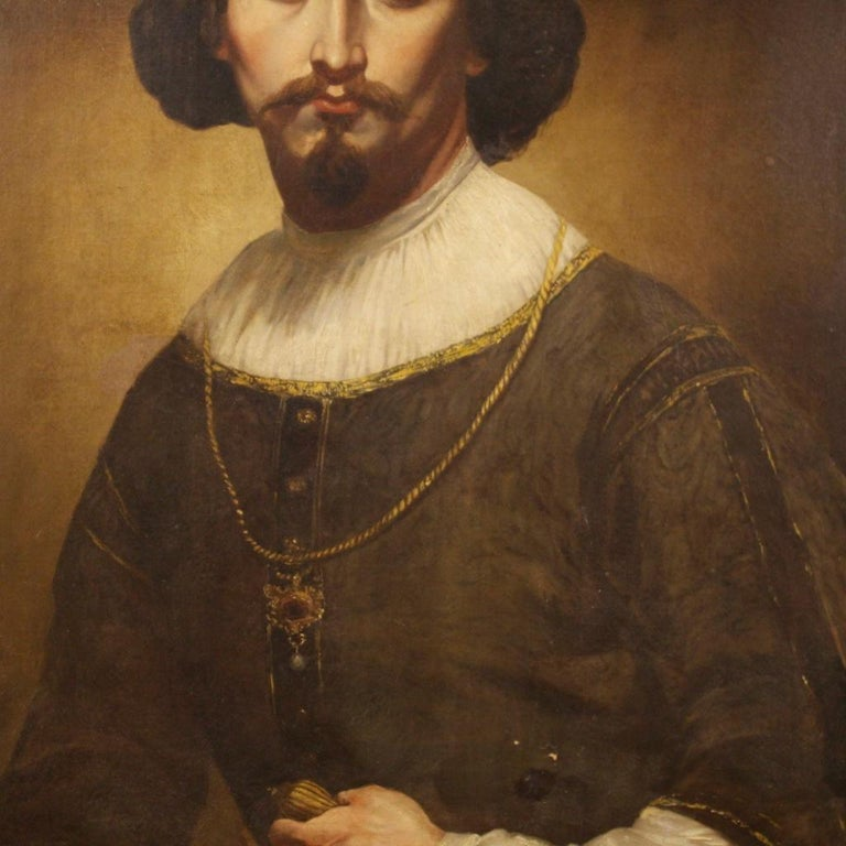 19th Century Oil on Canvas Italian Portrait of Nobleman Painting, 1850 For Sale 7