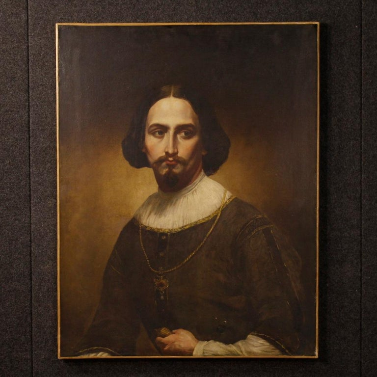 Antique Italian painting from the mid-19th century. Oil painting on canvas depicting a nobleman's portrait of excellent pictorial quality. Painting rich of details, of great character, for antique dealers and collectors. Framework missing of frame