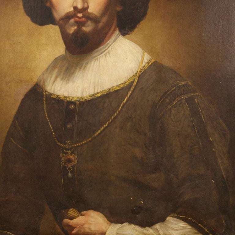 19th Century Oil on Canvas Italian Portrait of Nobleman Painting, 1850 In Good Condition For Sale In Vicoforte, Piedmont
