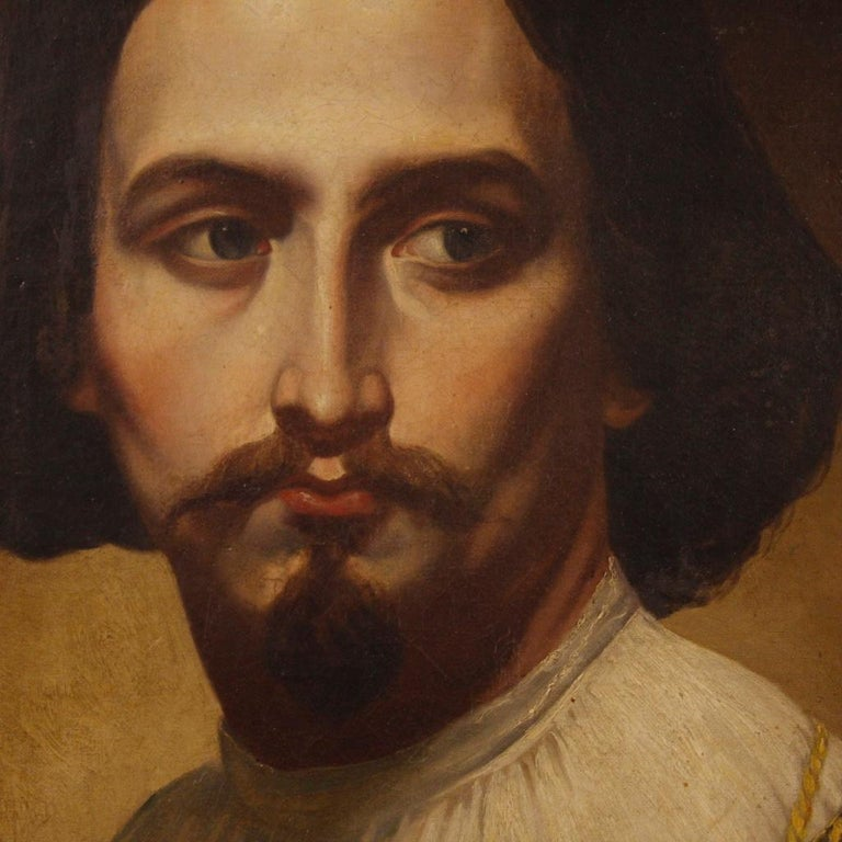 19th Century Oil on Canvas Italian Portrait of Nobleman Painting, 1850 For Sale 1