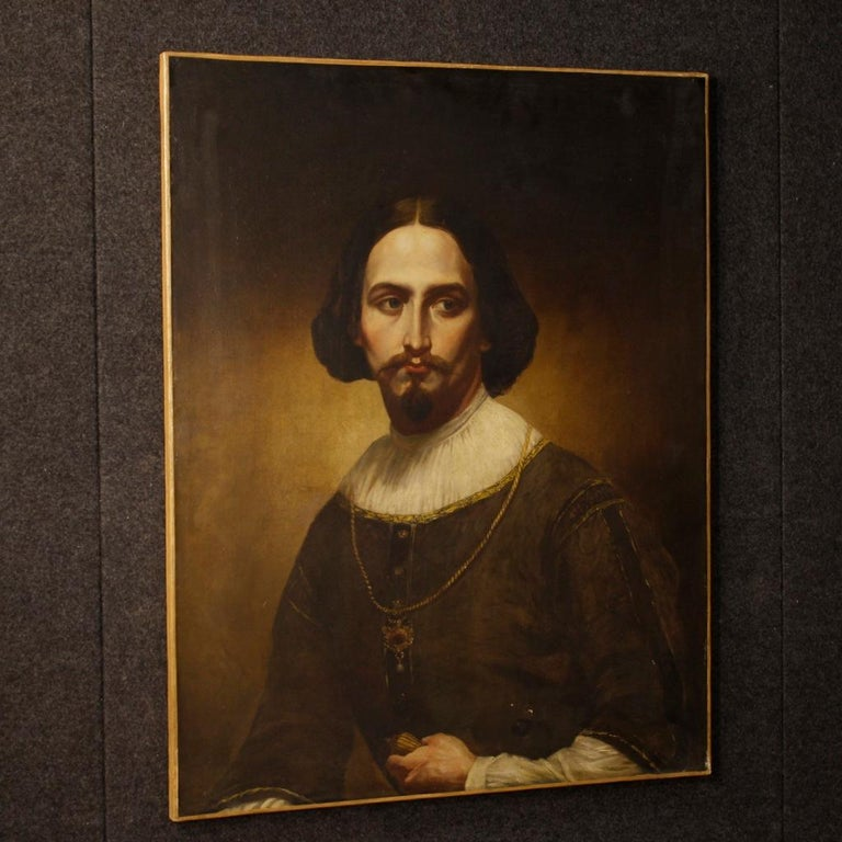 19th Century Oil on Canvas Italian Portrait of Nobleman Painting, 1850 For Sale 2