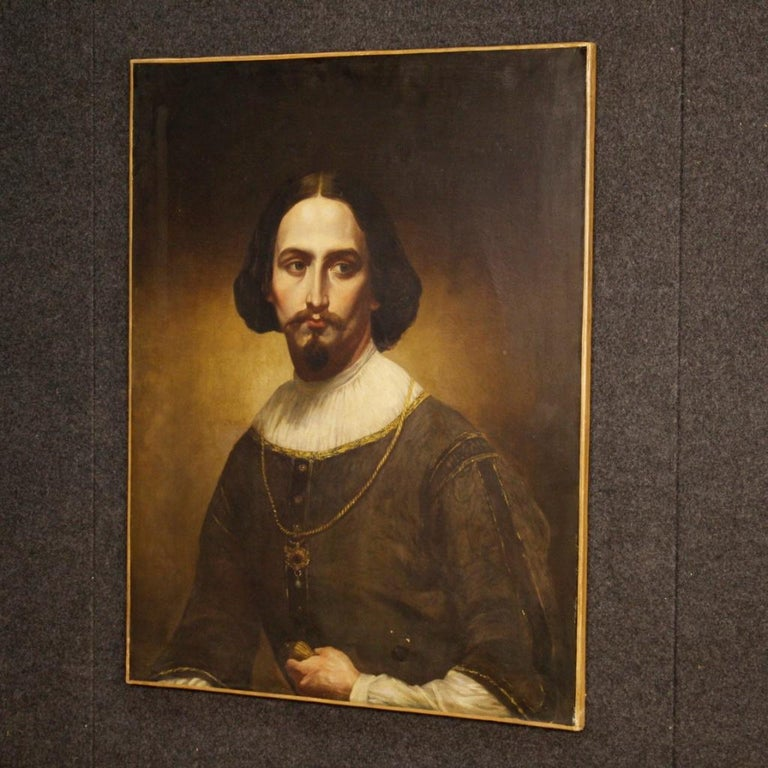19th Century Oil on Canvas Italian Portrait of Nobleman Painting, 1850 For Sale 6