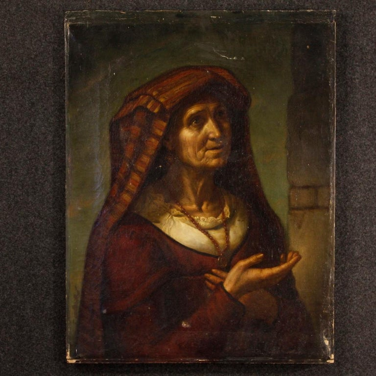 Antique Italian painting from 19th century. Framework depicting a portrait of a popular character of excellent pictorial quality. Oil painting on canvas, in the first canvas, rich in details of great character. Canvas that presents small tears, in