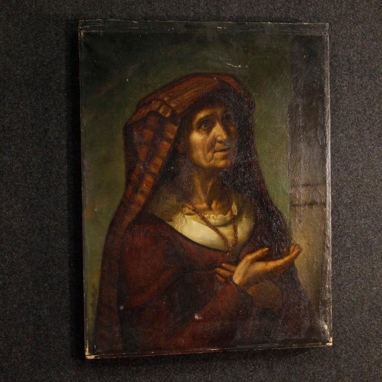 19th Century Oil on Canvas Italian Portrait Painting, 1870 For Sale 4