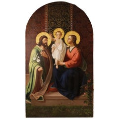 19th Century Oil on Canvas Italian Religious Altarpiece Holy Family, 1895