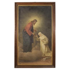 19th Century Oil on Canvas Italian Religious Painting Christ and Saint Catherine