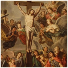 19th Century Oil on Canvas Italian Religious Painting Crucifixion, 1860