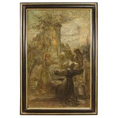 19th Century Oil on Canvas Italian Religious Painting Saint Rita of Cascia, 1850