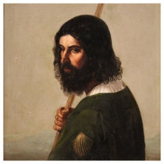 19th Century Oil on Canvas Italian Religious Painting Saint Rocco, 1860