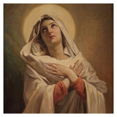 19th Century Oil on Canvas Italian Religious Painting Virgin, 1860