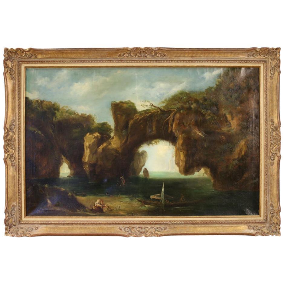 19th Century Oil on Canvas Italian Seascape Painting, 1880