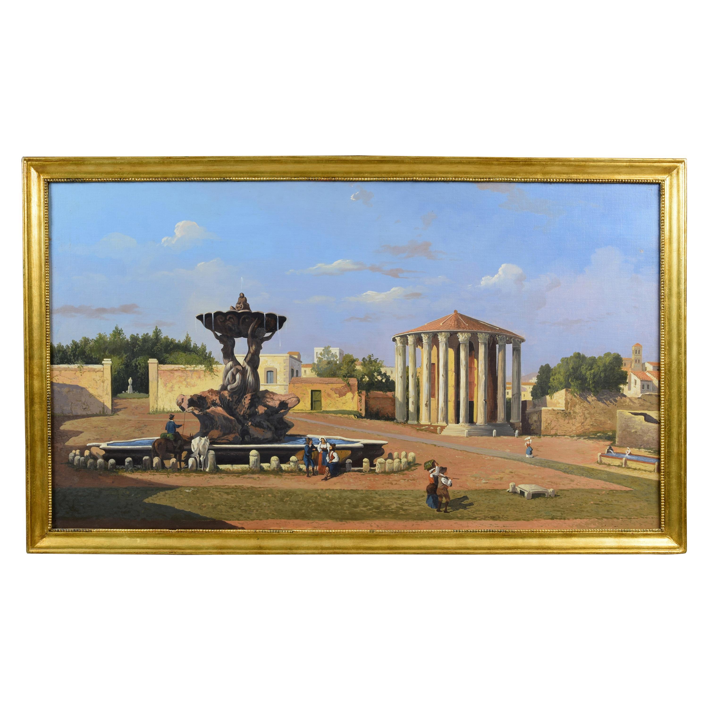 19th Century, Oil on Canvas, Italian View of the Forum Boario of Rome