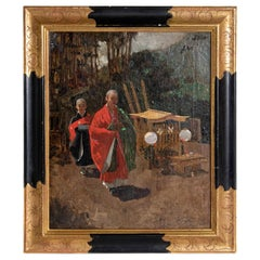 19th Century Oil on Canvas Japanese Monks in a Landscape by Francis Neydhart
