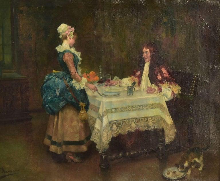 19th century José Mirailles Darmanin (1850-1900) Spanish school the gentleman (and his servant) takes the meal. Genre scene.