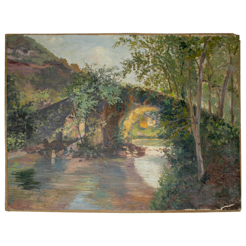 19th Century Oil on Canvas Landscape with Bridge