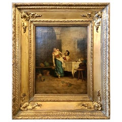 19th Century Oil on Canvas of a Tavern Scene in a Fine Gilt Frame