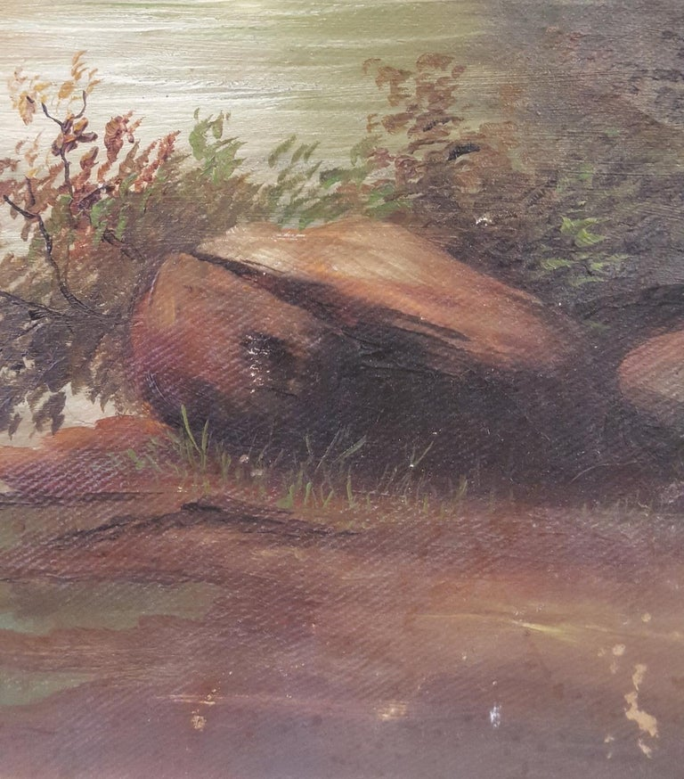 Aesthetic Movement 20th Century Oil on Canvas of Romanticized, Woodland Waterfall For Sale