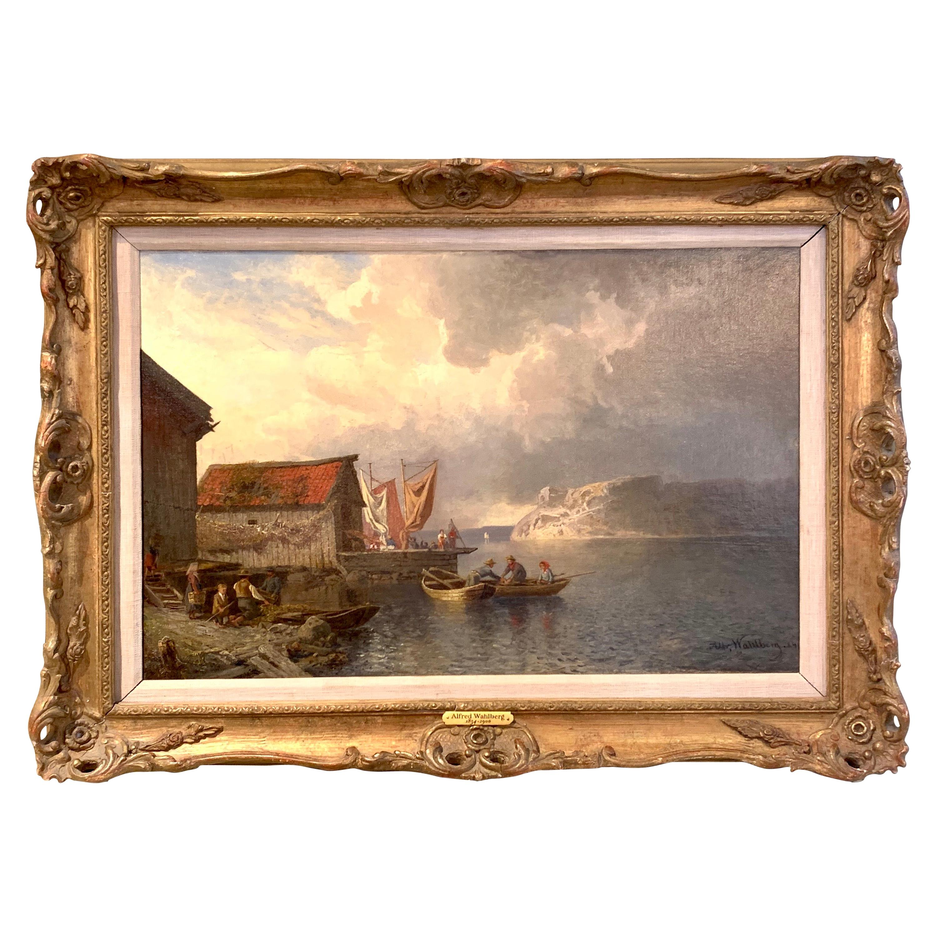 19th Century Oil on Canvas Oil Painting by Alfred Whalberg