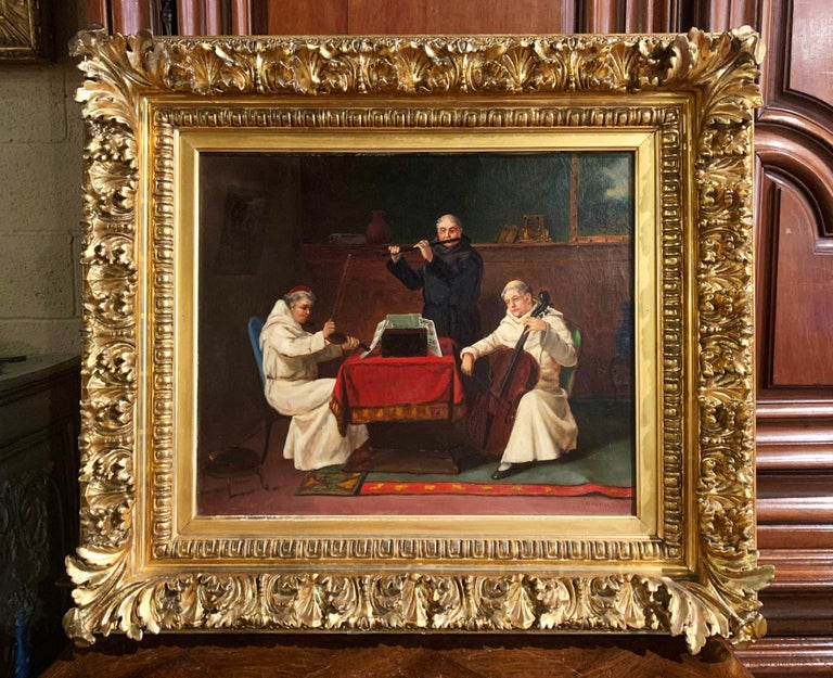 Gilt 19th Century Oil on Canvas Painting