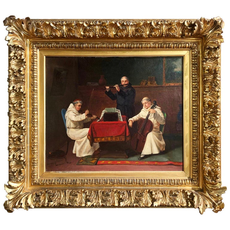 """19th Century Oil on Canvas Painting """"A Heavenly Recital"""" Signed J. Bernstein For Sale"""