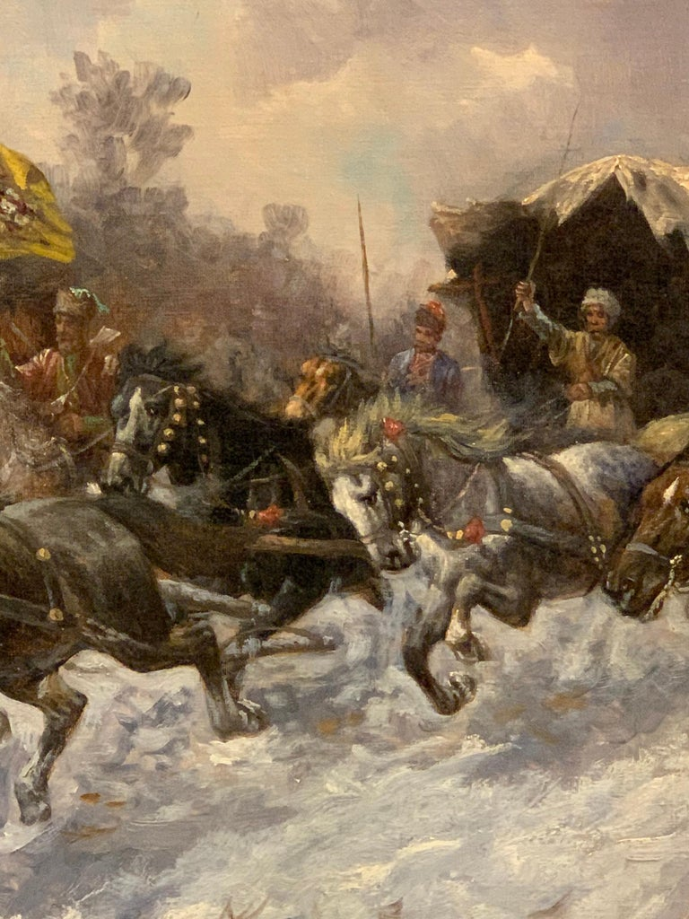 Bulgarian 19th Century Oil on Canvas Painting by Artist Adolf Baumgartner Stoiloff For Sale