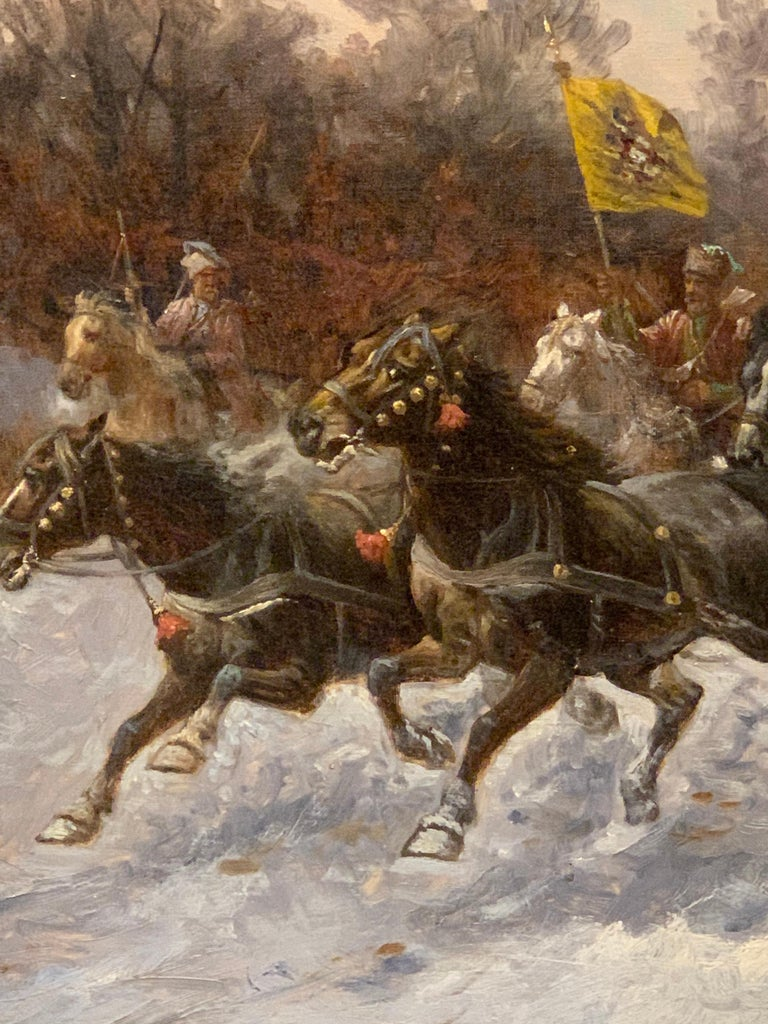 Hand-Painted 19th Century Oil on Canvas Painting by Artist Adolf Baumgartner Stoiloff For Sale