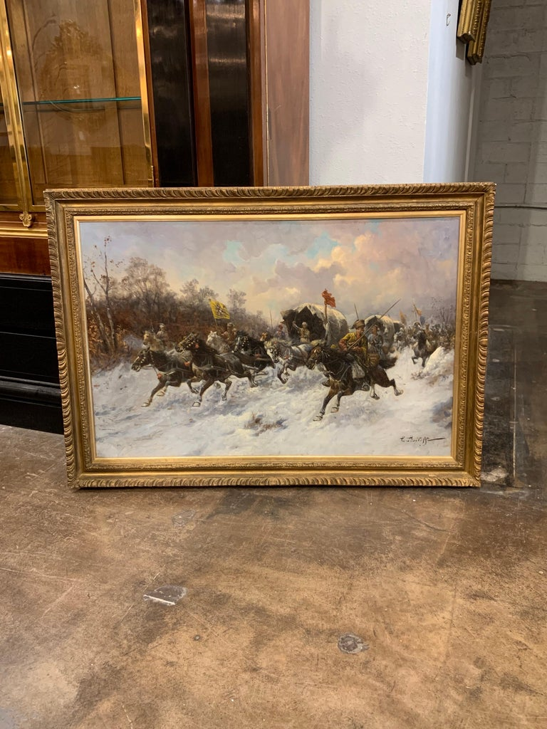 19th Century Oil on Canvas Painting by Artist Adolf Baumgartner Stoiloff For Sale 1