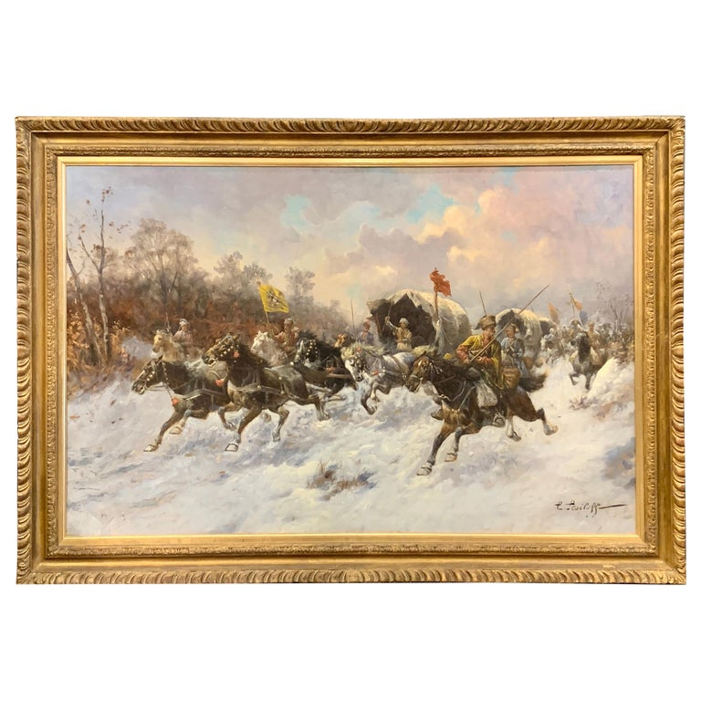 19th Century Oil on Canvas Painting by Artist Adolf Baumgartner Stoiloff For Sale