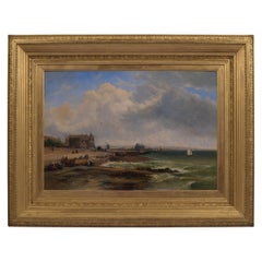 19th Century Oil on Canvas Painting by James Webb British Artist of Deauville