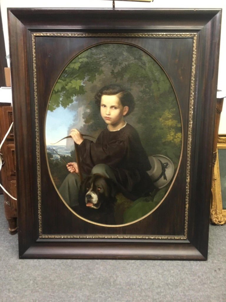 Hand-Painted 19th Century Oil on Canvas Portrait For Sale