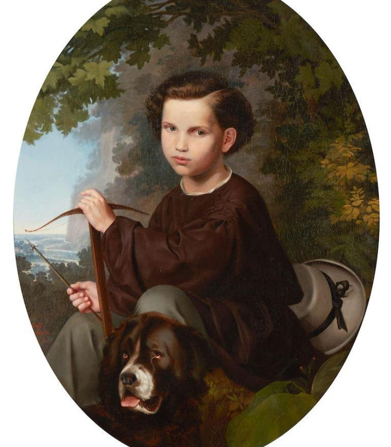Lovely 19th century oil on canvas portrait of a boy and dog. Seated at the foot of a tree holding a bow and arrow in his hand, his St, Bernard beside him, with a view to the fields and mountains beyond.  Signed and dated 1858.  Signed Adolf