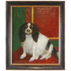 19th Century Oil on Canvas Portrait of a King Charles Spaniel