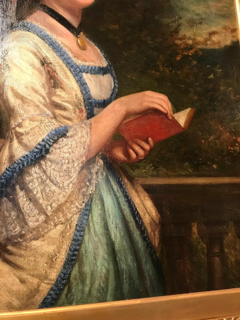 19th Century oil on canvas portrait of a lady reading set within Neoclassical garden scene.