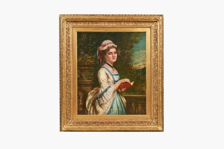 European 19th Century Oil on Canvas Portrait of a Lady Reading For Sale