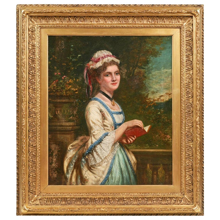 19th Century Oil on Canvas Portrait of a Lady Reading For Sale