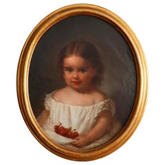 19th Century Oil on Canvas Portrait of Little Girl with Cherries
