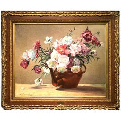 19th Century Oil on Canvas Representing a Flowerpot Flag