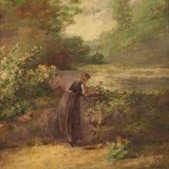 19th Century Oil on Canvas Signed and Dated French Landscape Painting, 1889