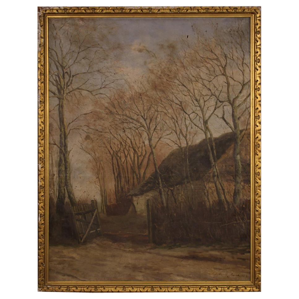 19th Century Oil on Canvas Signed French Landscape Painting, 1887