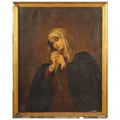19th Century Oil on Canvas Spanish Religious Virgin Painting, 1853