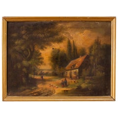 19th Century Oil on Canvas Spanish Signed Landscape Painting, 1880