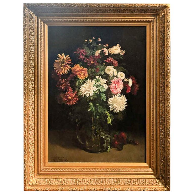 """19th Century Oil on Canvas """"Still life with Flowers"""" Signed L. Bonvalet-Barillot For Sale"""