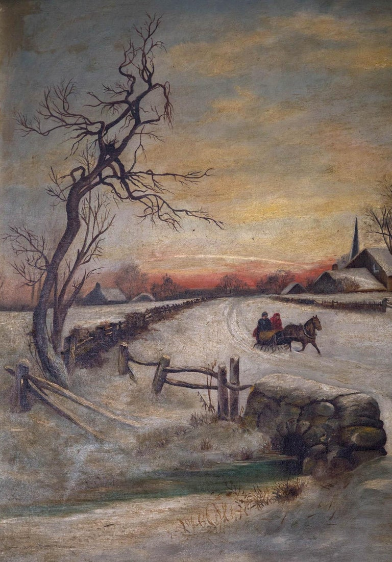 19th Century Oil on Canvas, Winter Scene In Fair Condition For Sale In Woodbury, CT